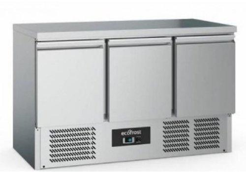 Ecofrost Etabli de refroidissement | 3 portes  | Acier inoxydable | 368L