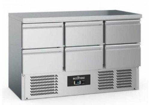 Ecofrost Etabli de refroidissement  | 6 portes | Acier inoxydable | 368L