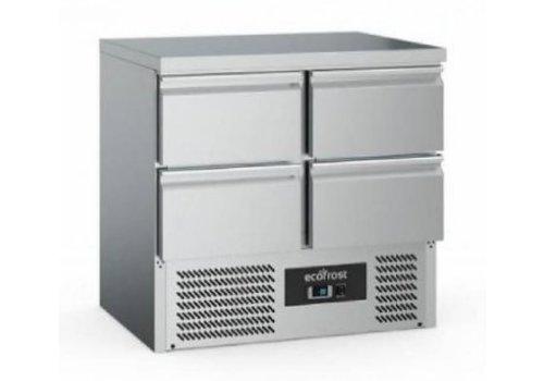 Ecofrost Etabli de refroidissement  | 4 portes | Acier inoxydable | 220L