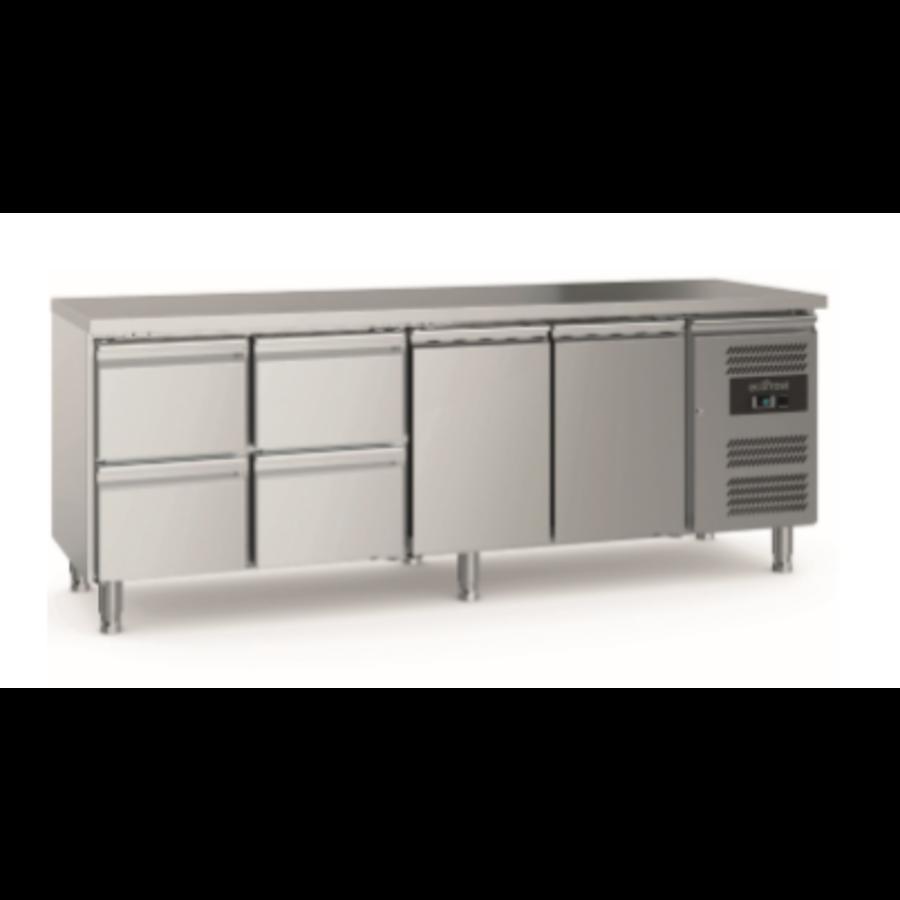700 Etabli de refroidissement | 2 portes 4 tiroirs | Pieds réglables