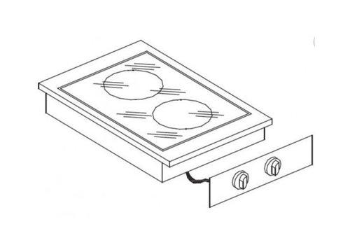 Combisteel Unité de Cuisson | Cuisinière en Céramique 2 Zones | 8,2 kW | 400x600x(H)260mm