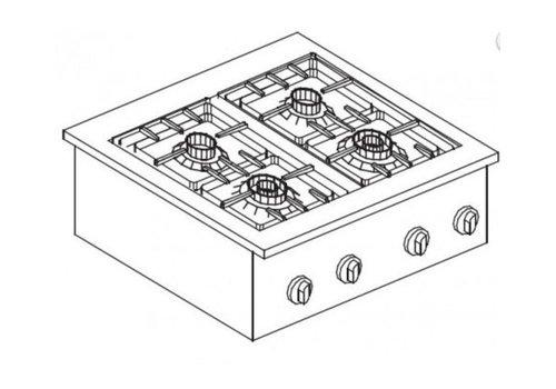 Combisteel Unité de Cuisson | Cuisinière à Gaz 4 Brûleurs | 14 kW | 600x600x(H)270mm
