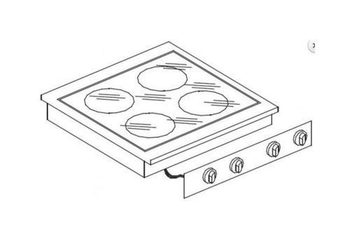 Combisteel Unité de Cuisson | Cuisinière en Céramique 4 Zones | 8,2 kW | 600x600x(H)260mm