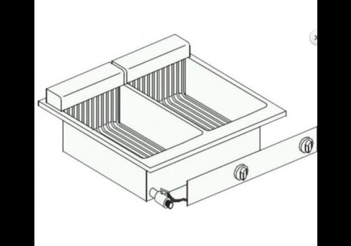 Combisteel Friteuse Electrique | 2x 10 Litres | 11 kW | avec Robinet de Vidange | 60x60x(H)35,6cm
