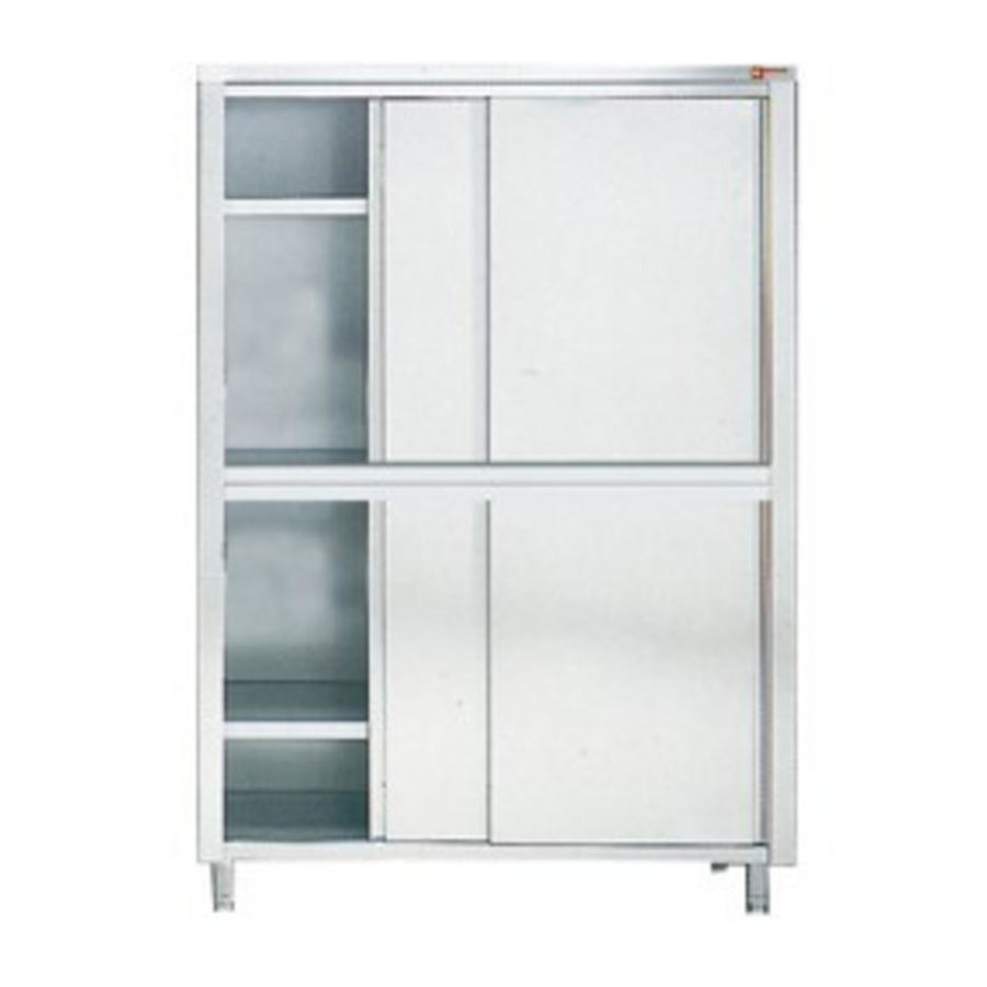 Armoire de Rangement Vaisselle | INOX | 4 Portes Coullissantes | 1600x600x2000(H) mm