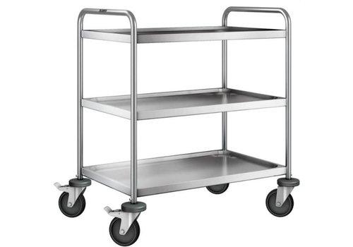 Blanco Chariot de service en acier inox | 3 étagères | 90x60x95 cm
