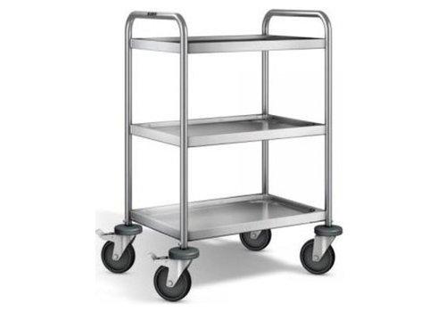 Blanco Chariot de service en inox | 3 étagères | 70x50x95 cm