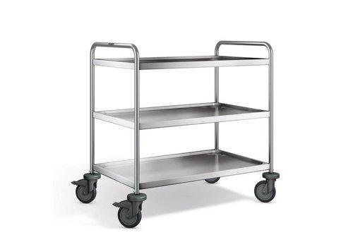 Blanco Chariot de service en inox | 3 plateaux | 100x65x95 cm