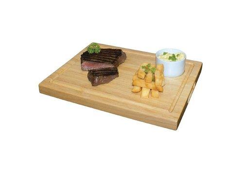 ProChef Planche à Steak + Renfoncement - Hévéa - Olympia - 310x240x25(h)mm
