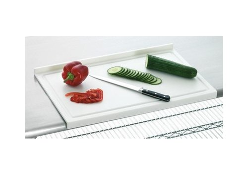 Bartscher Planche à Découper + Bord d'Arrêt - Plastique Blanc - 580x375x45(h)mm