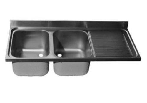 ProChef Dessus de plonge 1600 X 600 mm 2xCuves 400X500X300 mm/Egouttoir droit
