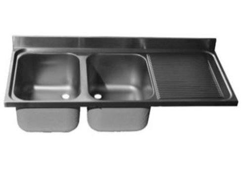 ProChef Dessus de plonge 1400 X 700 mm 2 Cuves 400X500X300 mm/Egouttoir droit