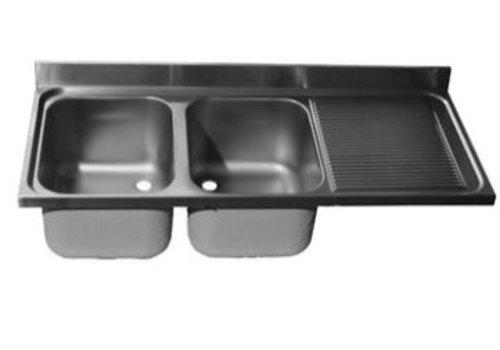 ProChef Dessus de plonge 2000 X 700 mm 2 Cuves 600X500X300 mm/Egouttoir droit