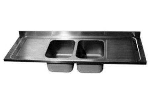 ProChef Dessus de plonge 2400 X 700 mm 2 Cuves 600X500X300 mm/Egouttoir