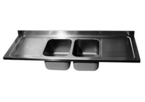 ProChef Dessus de plonge 2600 X 700 mm 2 Cuves 600X500X300 mm/Egouttoir