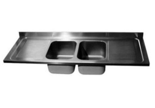 ProChef Dessus de plonge 2000 X 700 mm 2 Cuves 400X500X300 mm/Egouttoir