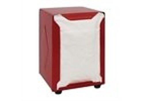 ProChef Distributeur de serviettes | Inox | Rouge | 120(H) x 90(L) x 107(P)mm