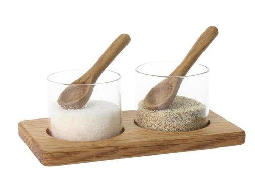 Olympia Pots sel et poivre | Bois | Verre | 42(H) x 125(L) x 70(P) mm
