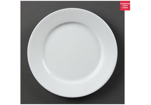 Olympia Assiettes à bord large blanches Olympia 202mm, lot de 12