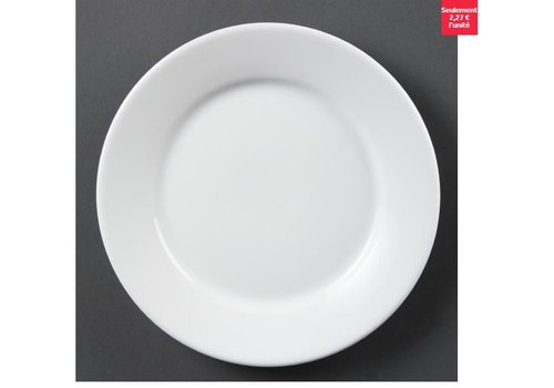 Olympia Assiettes à bord large blanches Olympia 230mm, lot de 12