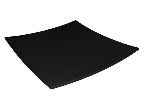Olympia Assiette carrée incurvée mélamine noire Kristallon | 300mm
