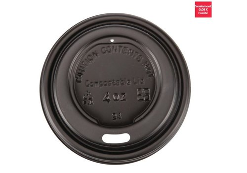 ProChef Couvercles noirs compostables en CPLA pour gobelets espresso 113ml Fiesta Green (x50)