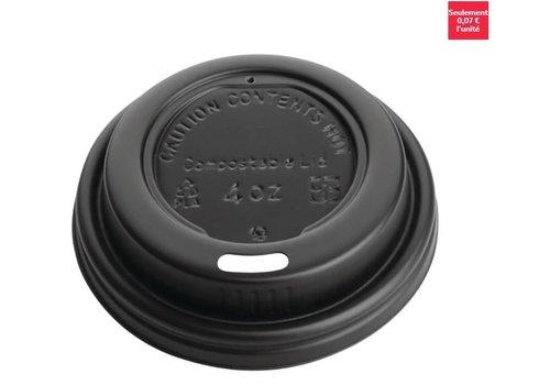 ProChef Couvercles noirs compostables en CPLA pour gobelets espresso 113ml Fiesta Green (x1000)