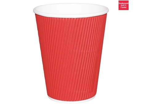 ProChef Gobelets boissons chaudes paroi isolante ondulée Fiesta rouges 225ml x25