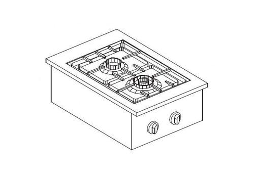 Combisteel Unité de Cuisson | Cuisinière à Gaz 2 Brûleurs | 9 kW | 400x600x(H)270mm