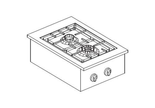Combisteel Unité de Cuisson |Réchaud à Gaz | 2 Bruleurs | 24 kilos | 400x557mm
