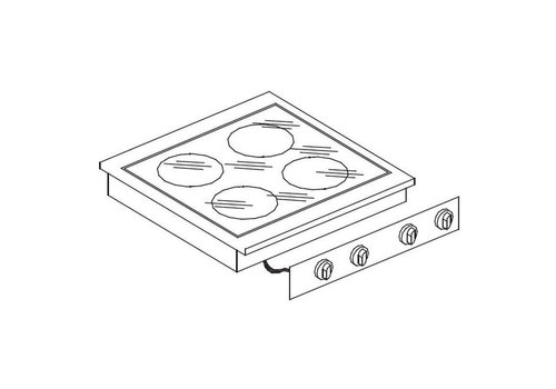 Combisteel Unité de Cuisson | Cuisinière en Céramique 4 Zones | 600x557mm