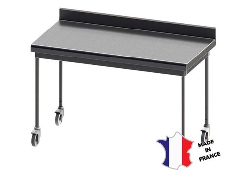 Sofinor Table démontable rayonnee   Inox   à dosseret    sur roulettes inox