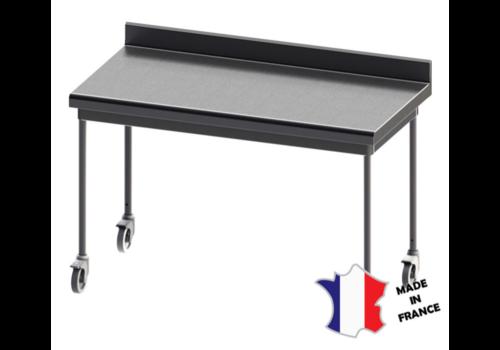 Sofinor Table démontable rayonnee   Inox   à dosseret   pieds ronds  sur roulettes inox   Plusieurs tailles