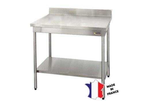 Sofinor Table démontable rayonnee   Inox   à dosseret   avec étagère basse   pieds ronds  