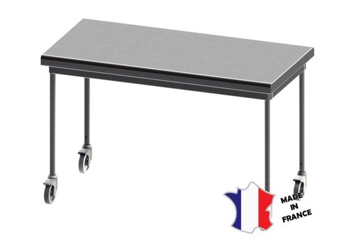 Sofinor Table démontable rayonnee   Inox   centrale   pieds ronds   sur roulettes polyamide