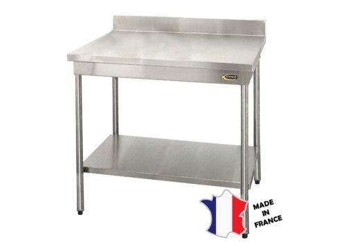 Sofinor Table démontable rayonnee   Inox   à dosseret   avec étagère basse   pieds ronds   sur vérins inox