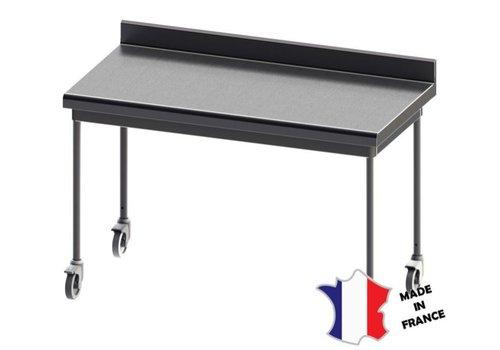 Sofinor Table démontable rayonnee   Inox   à dosseret   pieds ronds   sur roulettes inox