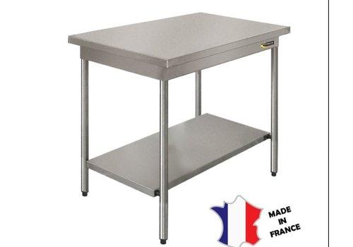 Sofinor Table démontable rayonnee   Inox   centrale   étagère basse   pieds ronds   sur vérins inox
