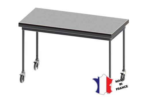 Sofinor Table demontable rayonnee   Inox   centrale   pieds ronds   sur roulettes polyamide