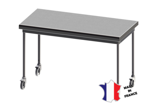 Sofinor Table démontable rayonnee   centrale   pieds ronds   sur roulettes inox