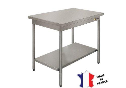 Sofinor Table demontable rayonnee   avec étagère basse   Inox   centrale   pieds ronds   sur vérins inox