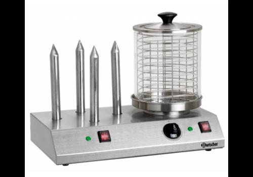 Bartscher Machine à hot dogs en inox | 4 plots | 960W | 50 x 28,5 x 39 cm
