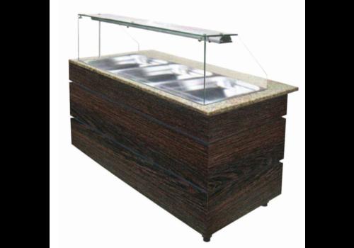Combisteel Buffet chaud | couleur wenge | 4x 1/1 gn | 157x80x(h)135,5cm