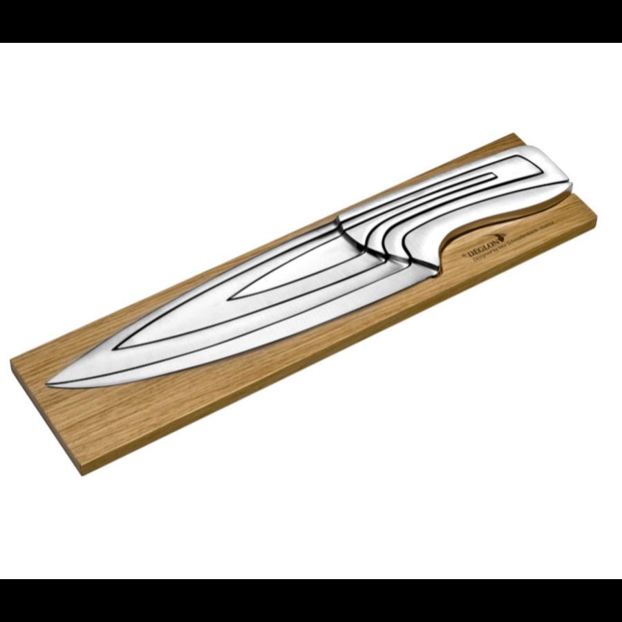 4 couteaux | Avec un support en Chêne