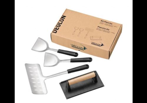Deglon Kit Plancha   4 Ustensiles   Inox et Fonte