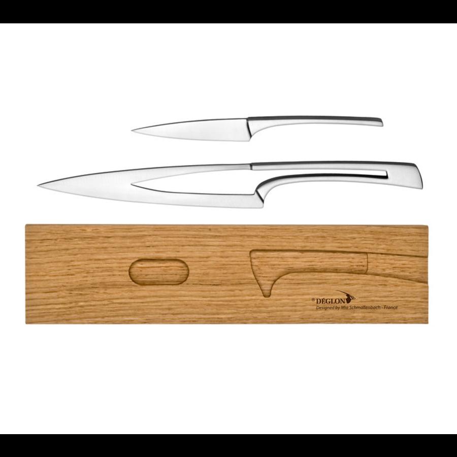 2 couteaux   Avec support en chene