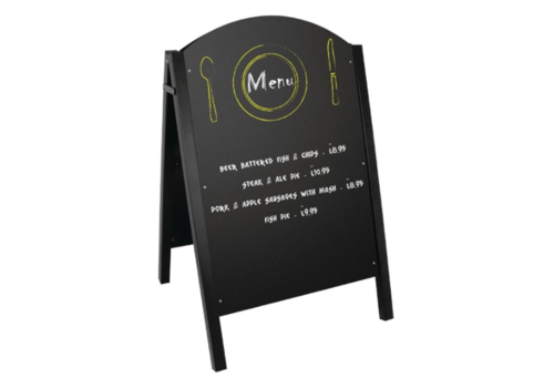 Olympia Panneau de trottoir noir structure métallique | 1025(H) x 675(L) x 660(P)mm