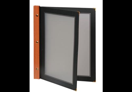 Securit Protège-menus en bois Securit noir A4