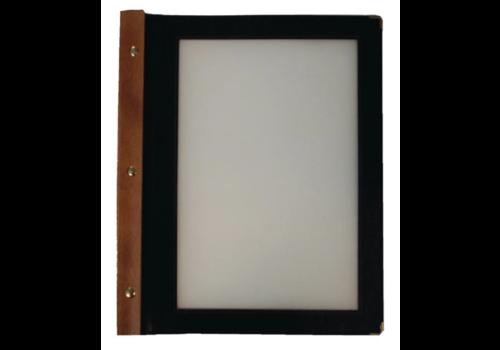 Securit Protège-menus cadre en bois | A4 noir | lot de 20