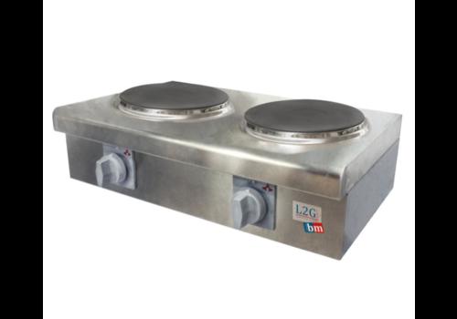 L2G Réchaud Électrique en Inox | 600x305x200mm | 2 Plaques | 4 kW